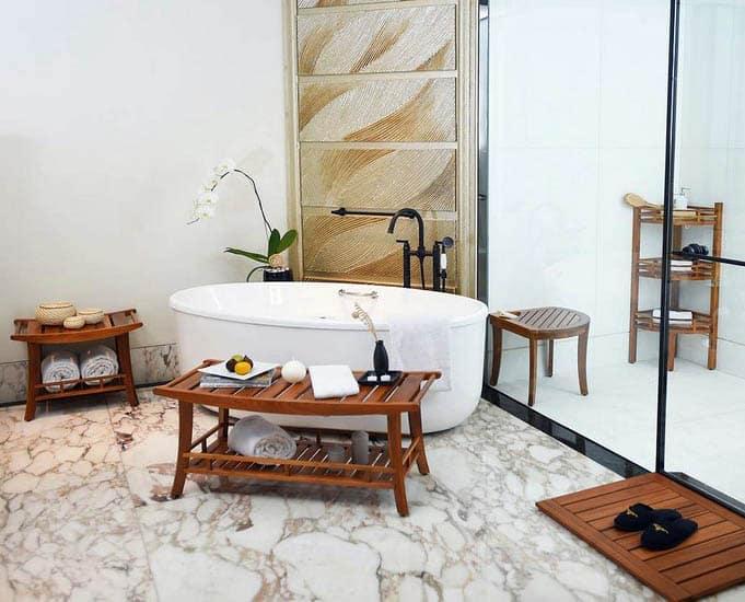 Portable teak shower bench