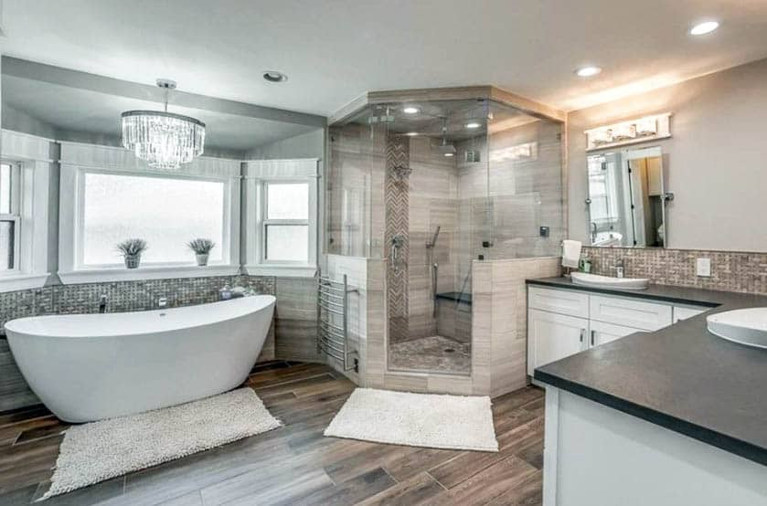 Shower with porcelain tile and soapstone bench