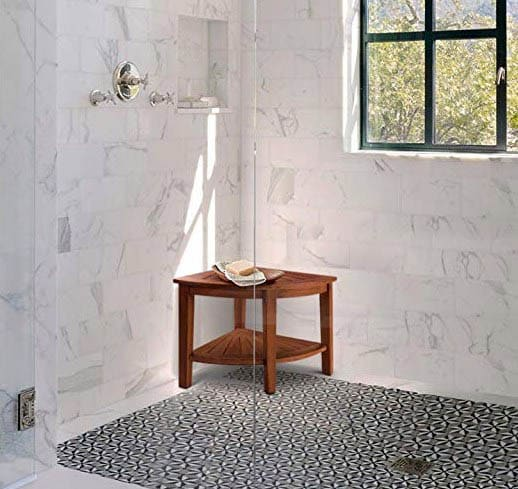 Shower with teak portable wood bench