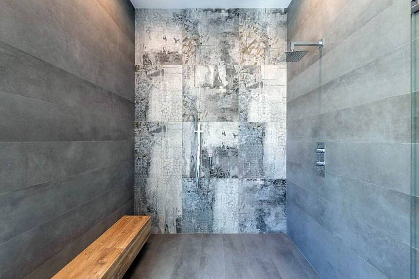Slate shower with wood bench