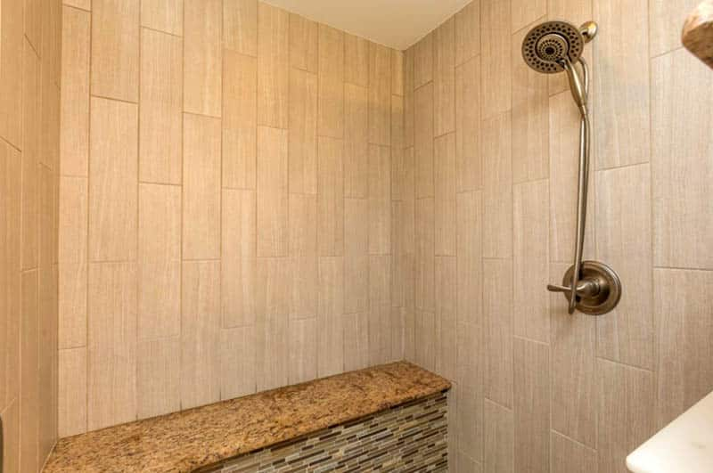 Tile shower with granite bench