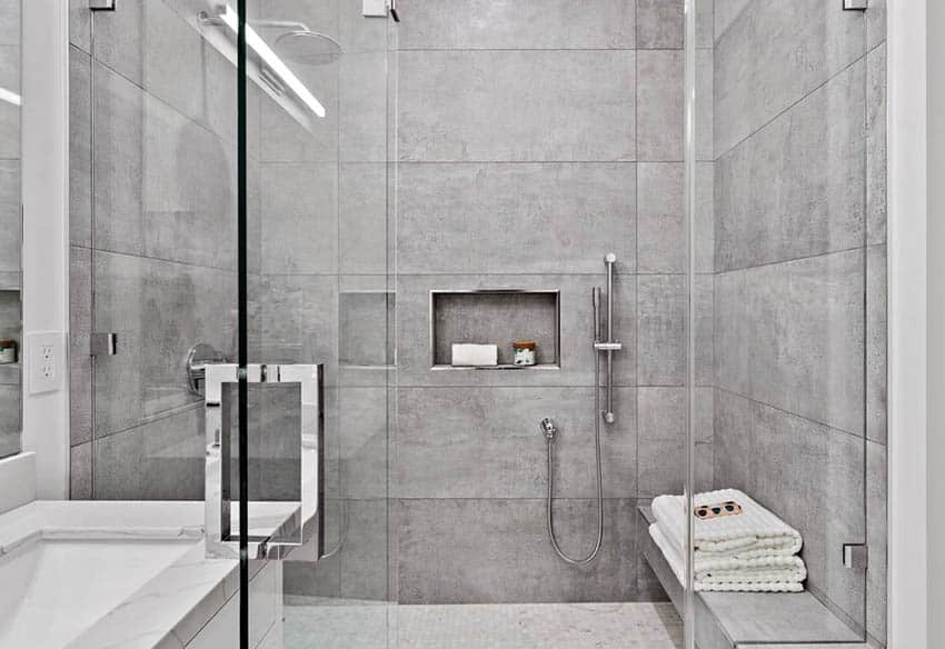 Tile shower with sitting bench