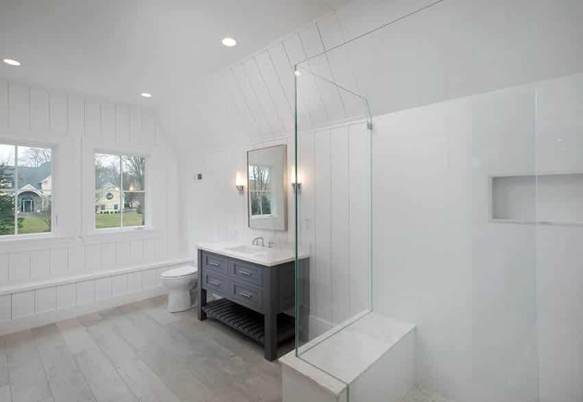 Traditional bathroom with shower bench
