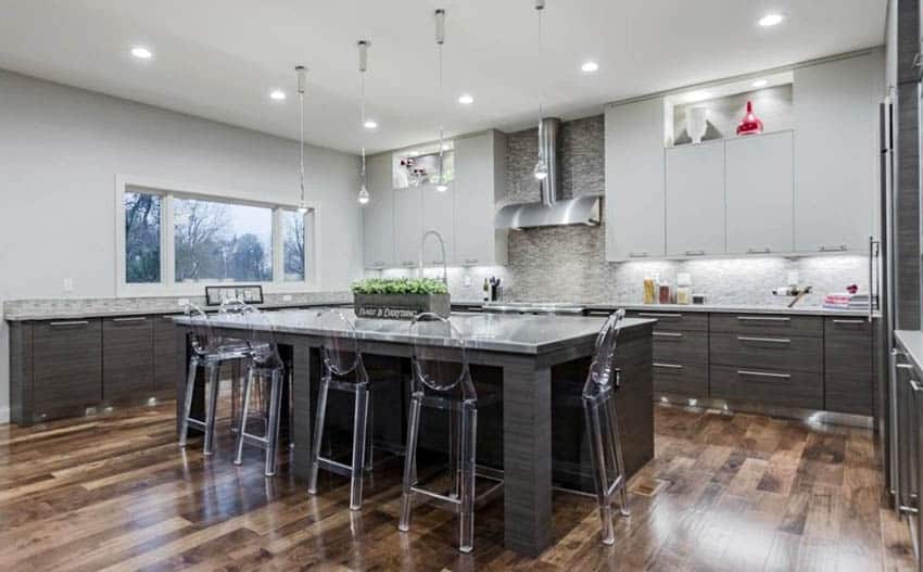 Contemporary kitchen with stainless steel countertops