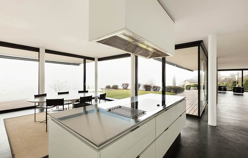 Modern kitchen island with stainless steel countertop water views