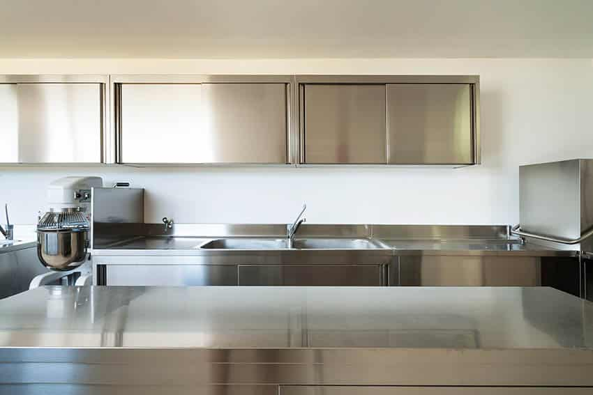 Stainless steel countertops and cabinets kitchen