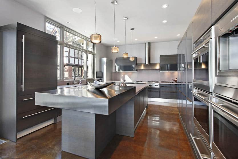 Ultra modern gray kitchen design stainless steel countertops