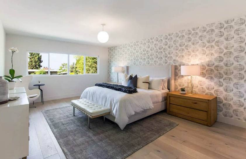 Bedroom with wide plank european oak hardwood floors