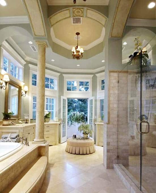 Luxury bathroom with high tray ceiling and french doors