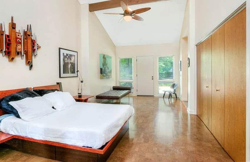 Master bedroom with cork flooring