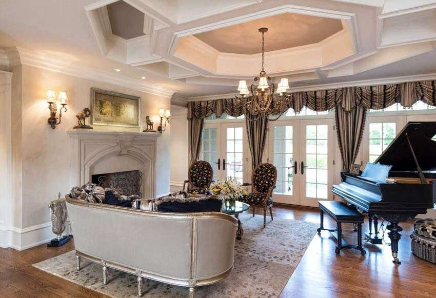 Traditional formal living room with tray ceiling and chandelier