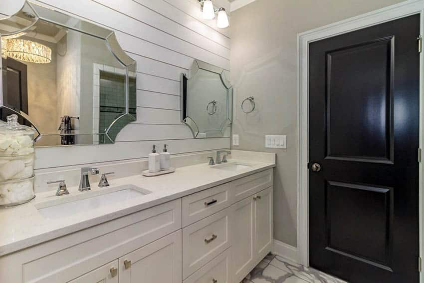 Bathroom with painted tongue and groove wall panel