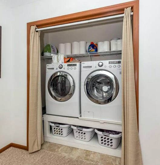 Laundry room behind curtain
