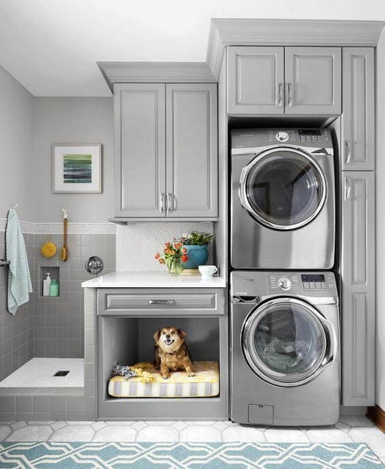 Laundry room with dog bed small shower