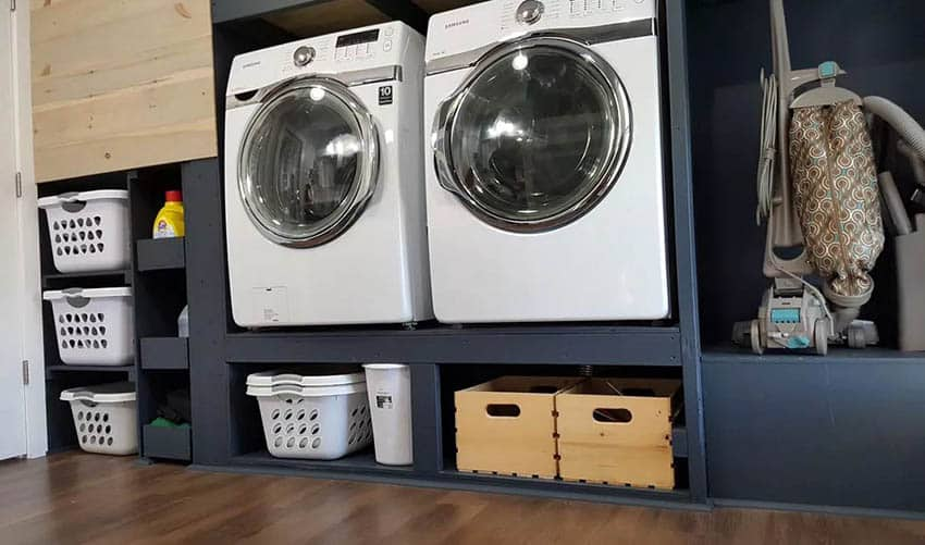 Rack for washer and dryer with storage