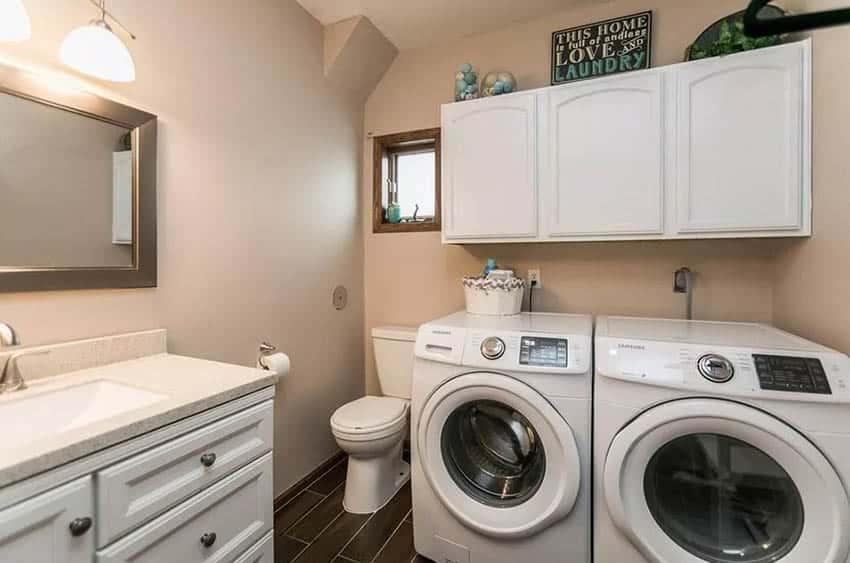 Shared laundry room small bathroom