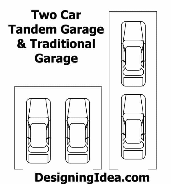 Two car tandem garage and traditional garage