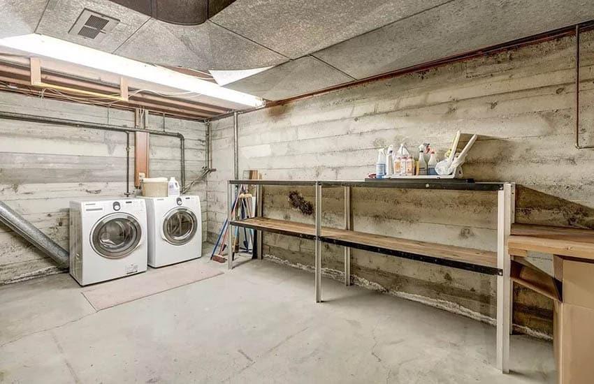 Unfinished basement laundry