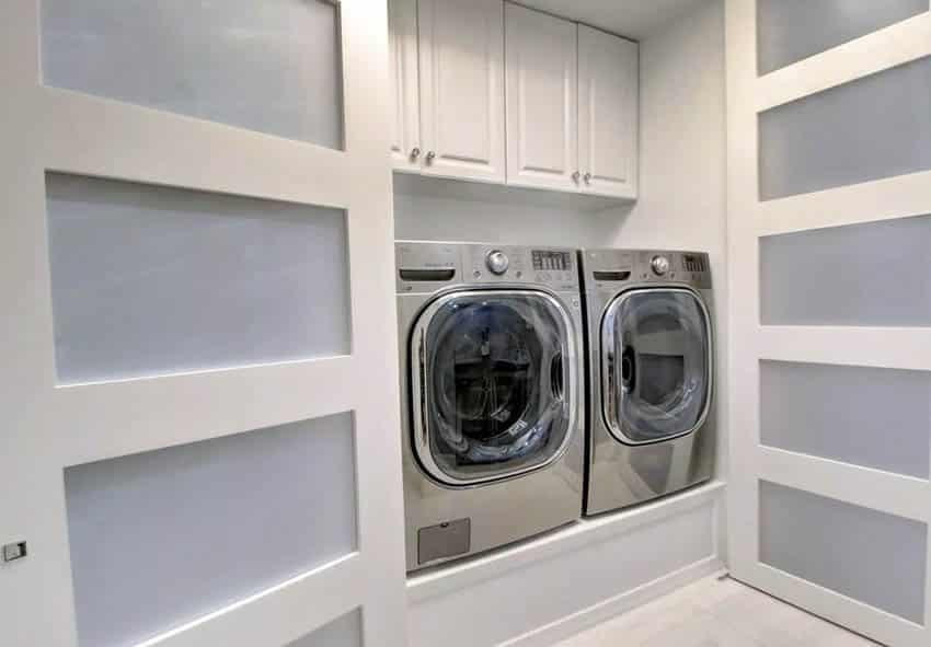 Washer dryer in closet behind modern interior doors