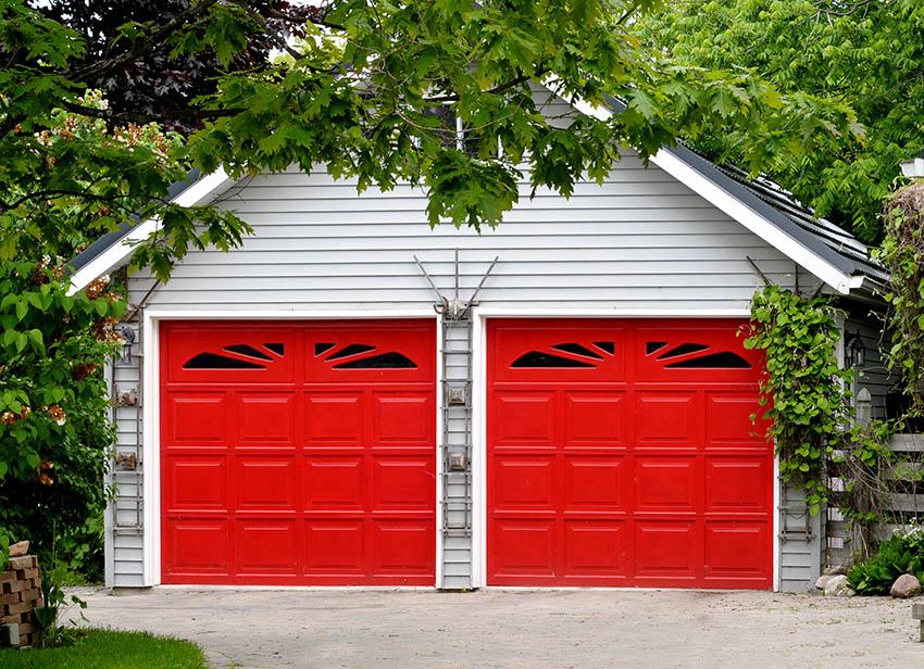 2 car garage with red doors