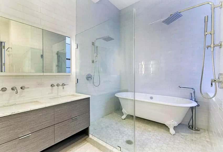 Clawfoot tub inside walk in shower
