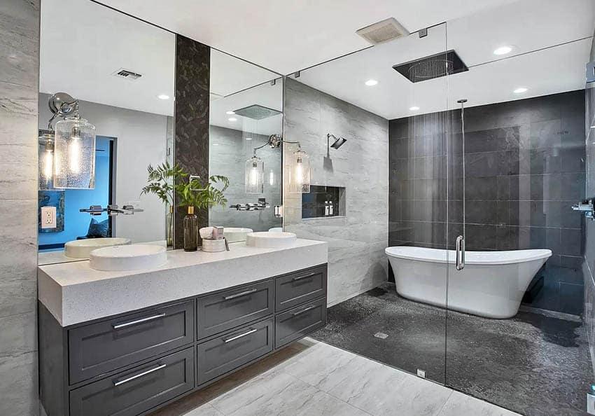Contemporary bathroom with tub inside shower