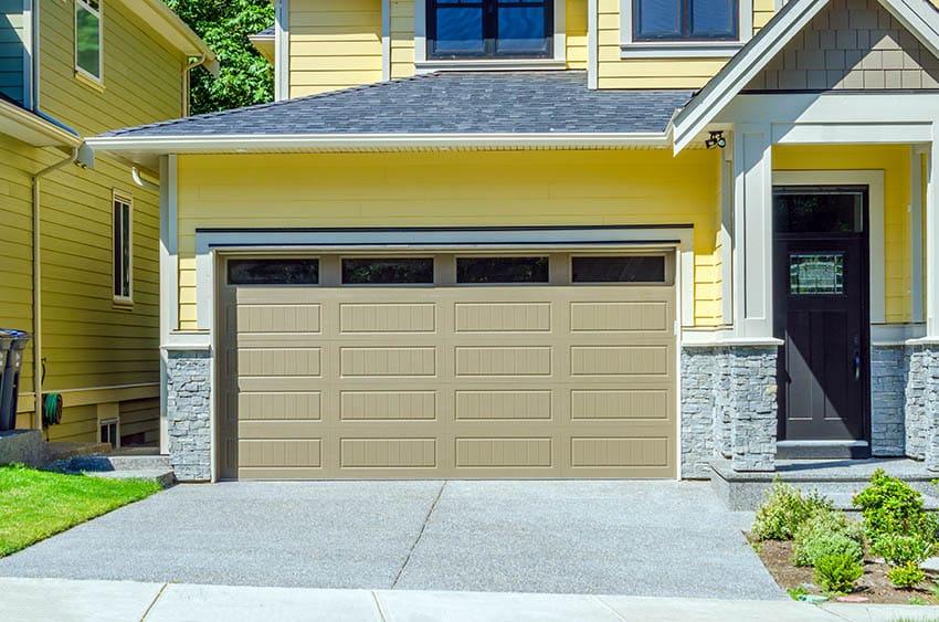 Double car garage door with high windows