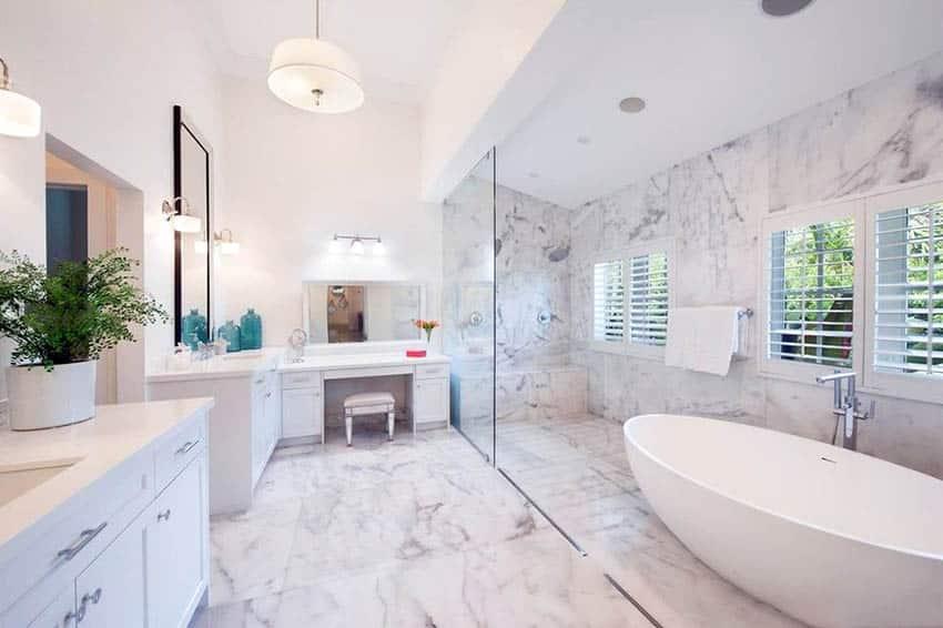 Freestanding tub inside shower area