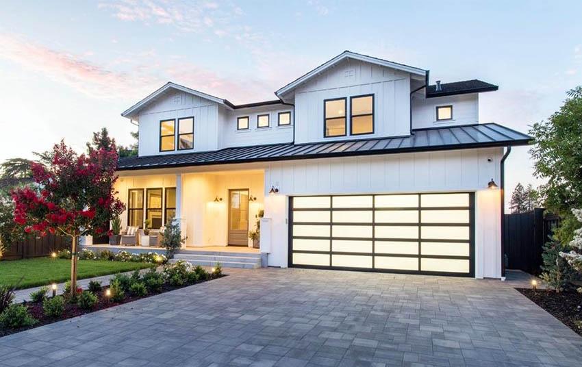 Glass paneled garage doors