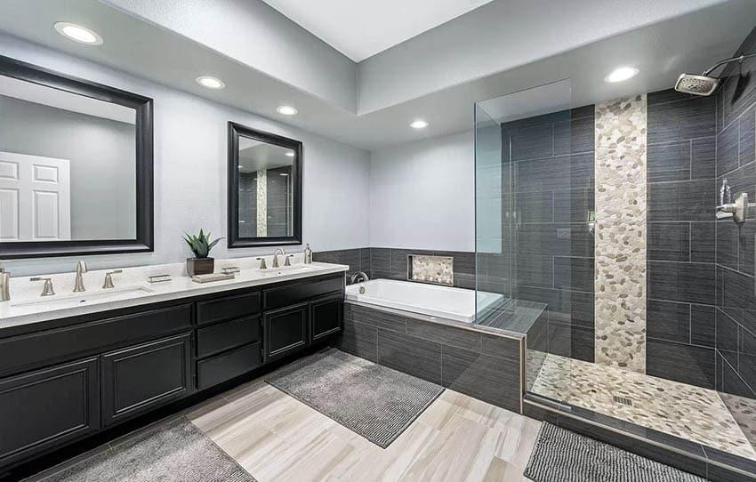 Bathroom with pebble tile floor shower