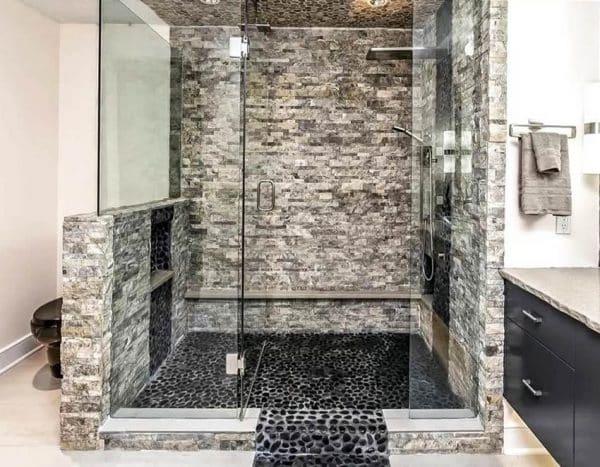Pebble Tile Shower Floor Por