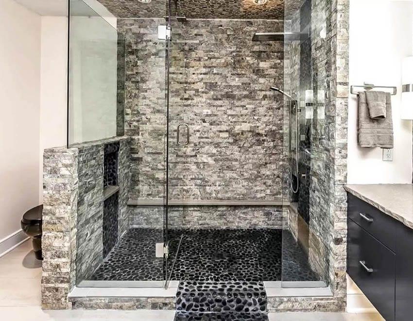 Black river rock walk in shower