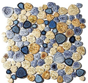 Glass mosaic pebble floor tile