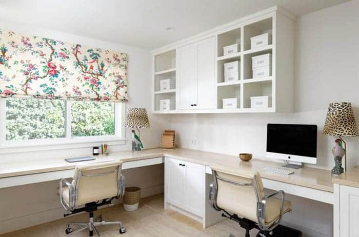 Home office with dual desk built ins cabinets