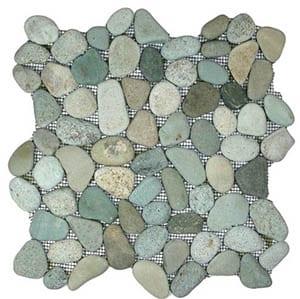Interlocking pebble tile floor
