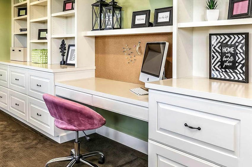 Office desk built in with drawers shelving corkboard wall