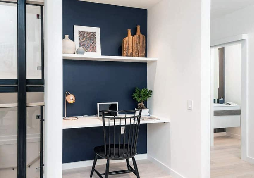 Small home office nook with black accent wall