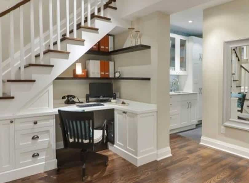 Under stairs office desk with built in storage cabinet
