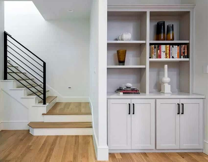 Basement small built in bookshelves with cabinets