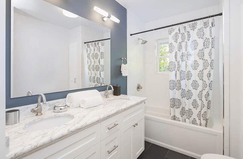 Bathroom shower curtain and dual vanity