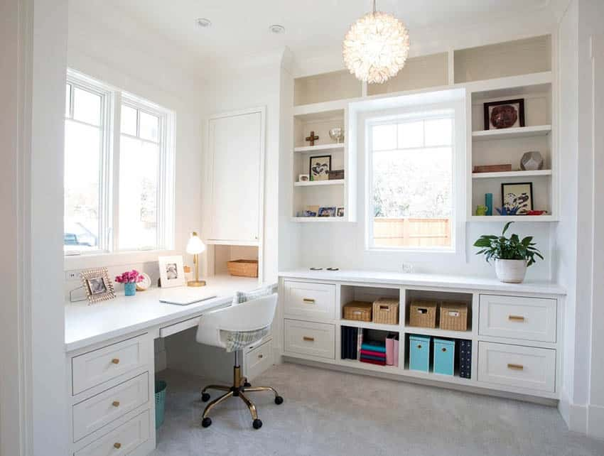 Built in bookshelves and desk in crafts room