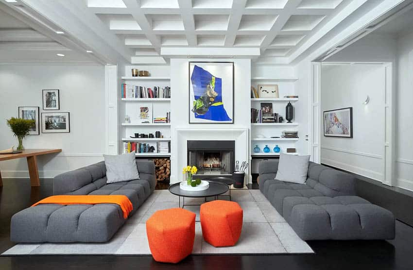 Contemporary living room with bookshelves around fireplace