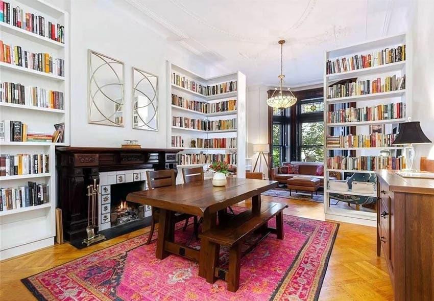 Built-in corner bookshelves