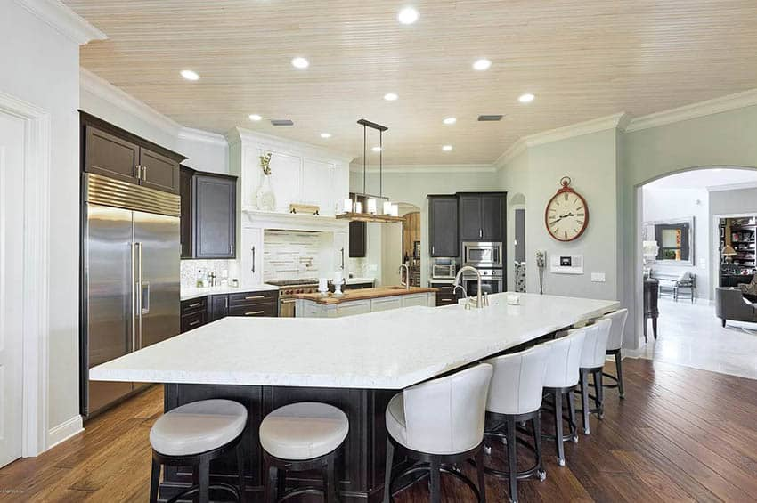 Kitchen with wood beadboard ceiling