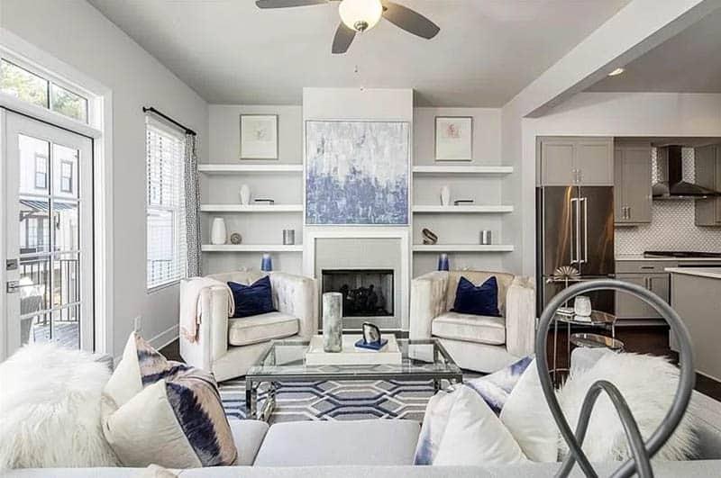 Living room with diy built in bookshelves