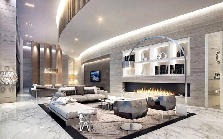 Modern living room with built in bookshelves and fireplace