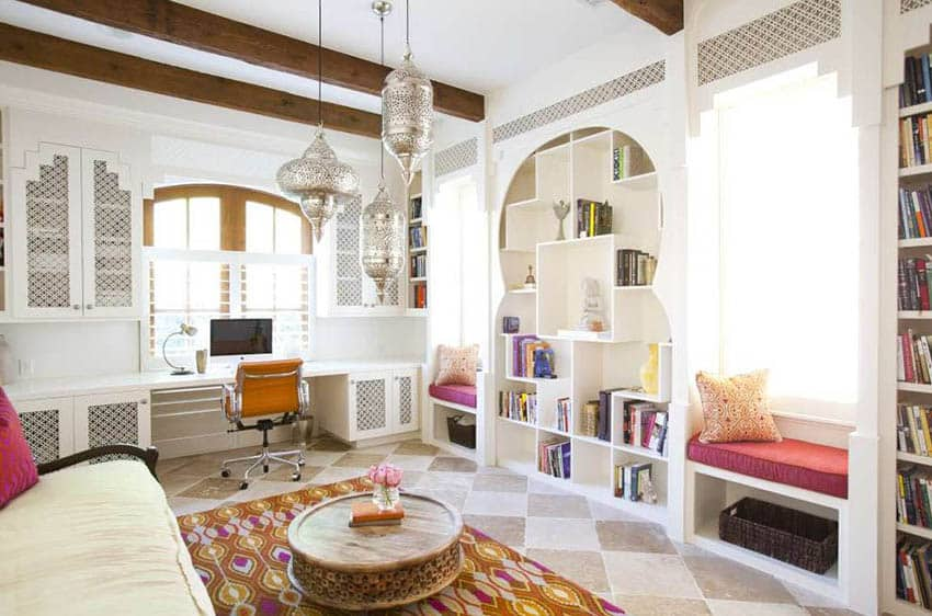 Moroccan inspired room with built in desk and bookshelves