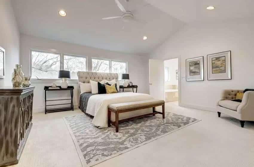 Bedroom with rug under bed
