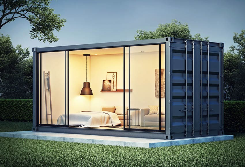 Container home bedroom with glass doors