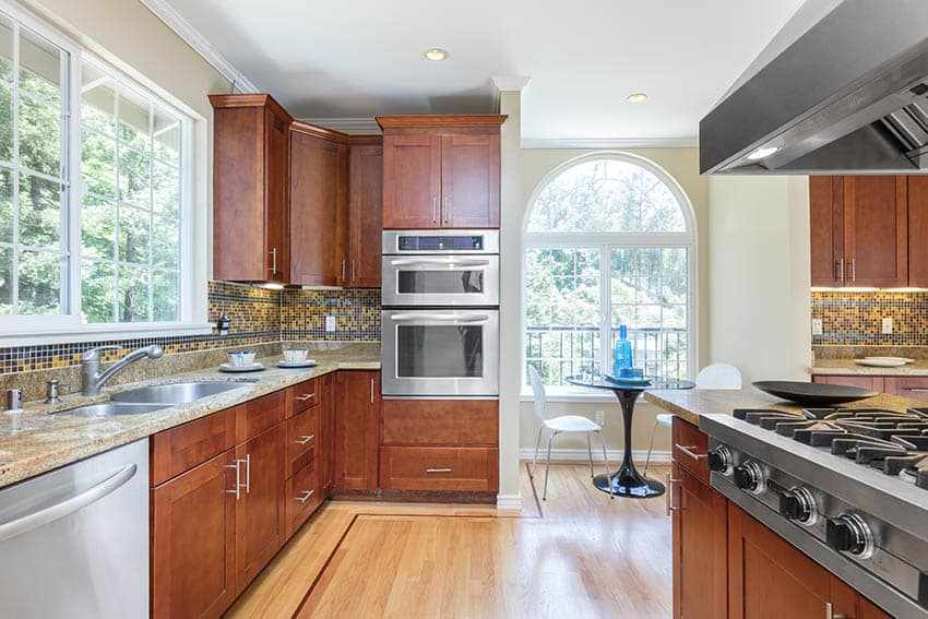 Contemporary kitchen with hickory engineered hardwood floors
